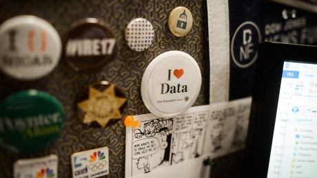 "A button that reads ""I [heart] Data""."