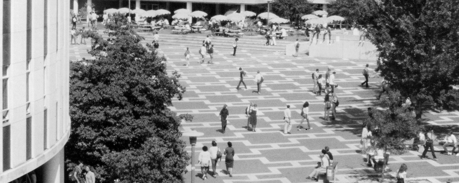 students cross the brickyard in the 1980s