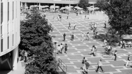 students cross brickyard in 1980s