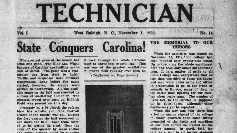 photo of the cover of Technician student newspaper