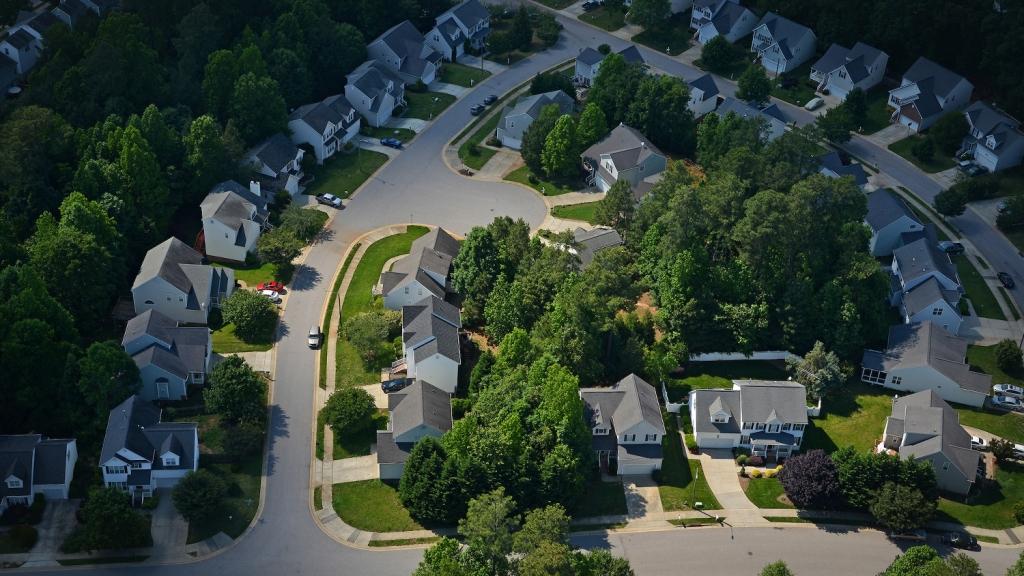 aerial of houses in Raleigh