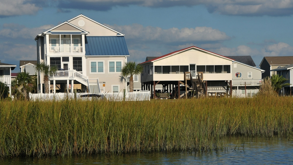 Soundside beach cottages tower above the reeds at Ocean Isle.