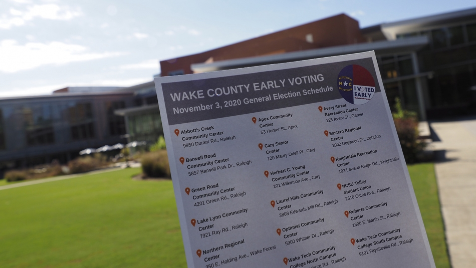 early voting sign on campus
