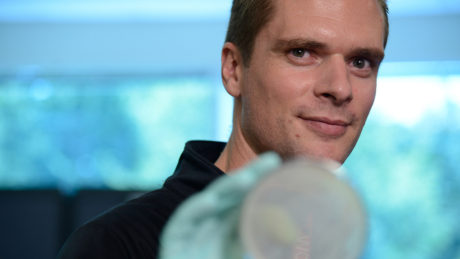 Dr. Rodolphe Barrangou in the CRISPR lab on Centennial campus.