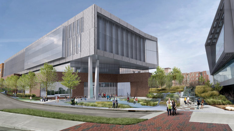 An illustration of Fitts-Woolard Hall, currently being constructed on NC State's Centennial Campus.