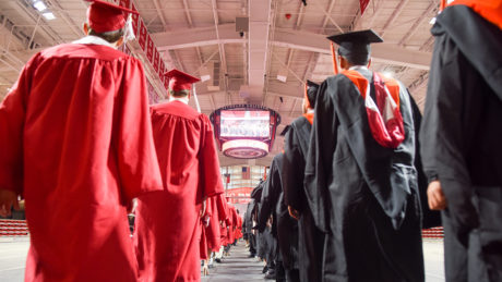 NC State students in graduation robes