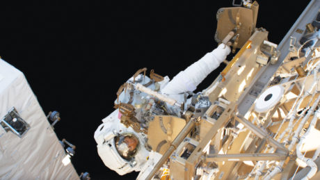 NC State alumna and astronaut Christina Koch dons her spacesuit board the International Space Station.