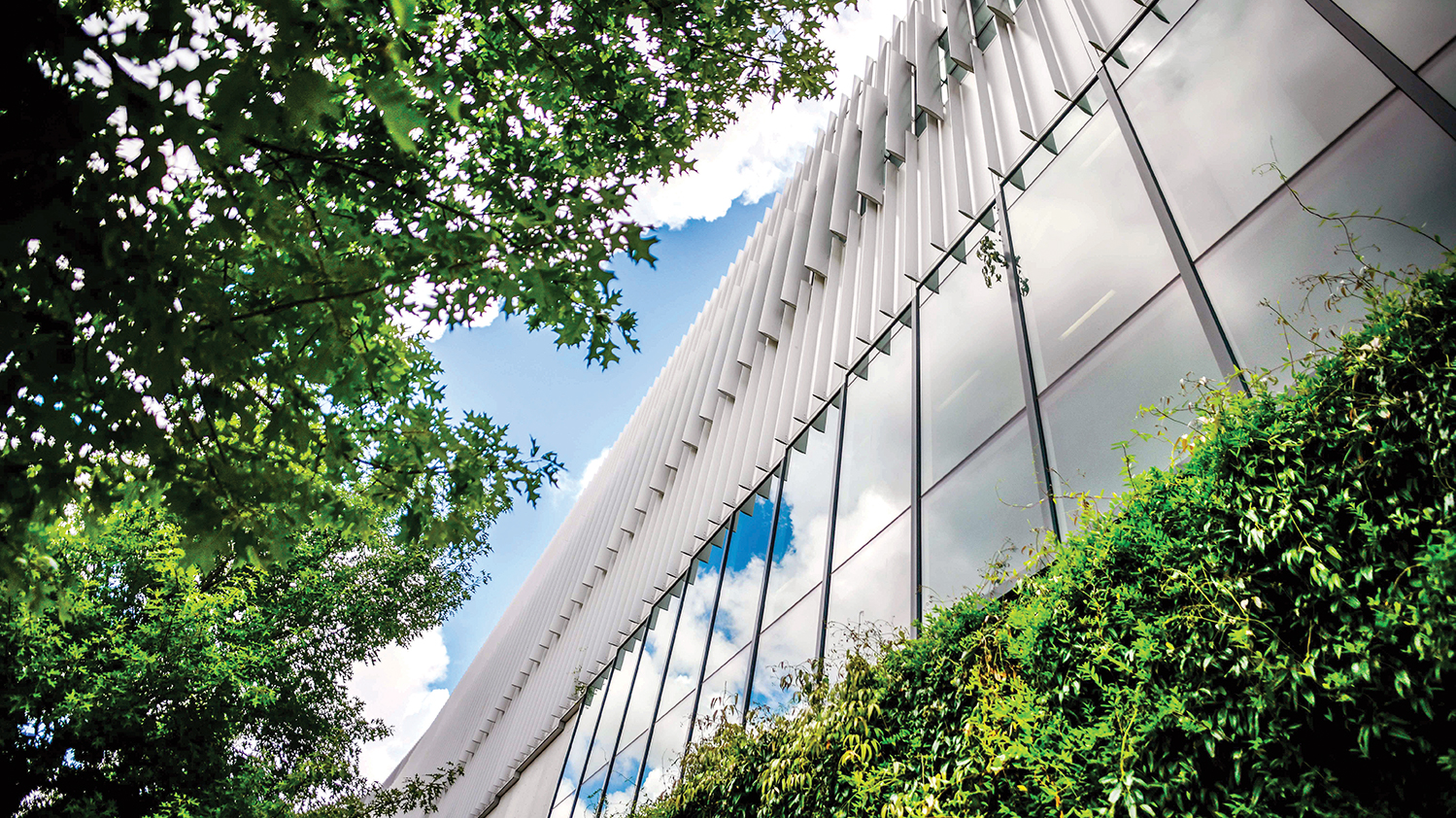 A view from below of Hunt Library on a sunny day.