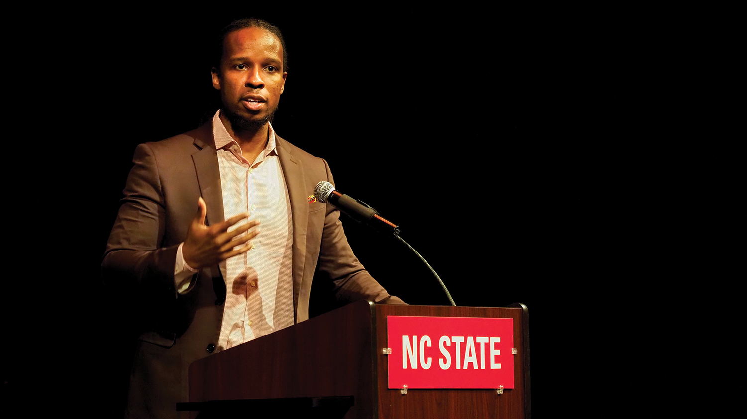 Historian and author Ibram X. Kendi speaks at Talley Student Union's Stewart Theatre.