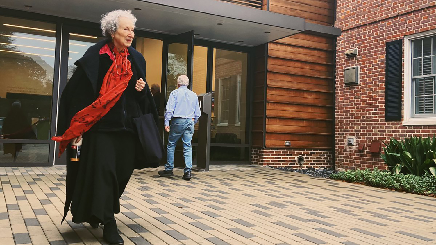 Author Margaret Atwood leaves the Gregg Museum of Art and Design after visiting an exhibit.