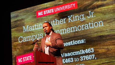 Ibram X. Kendi speaks at Talley Student Union's Stewart Theatre as part of NC State's Martin Luther King Jr. campus commemoration events.