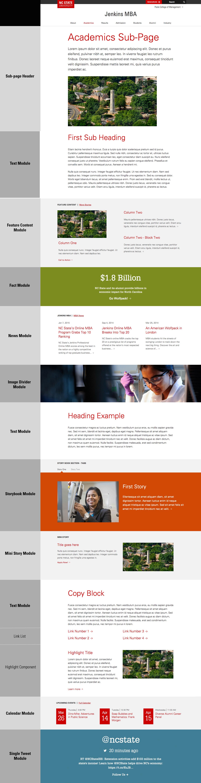 Screenshot of webpage showing module layout options