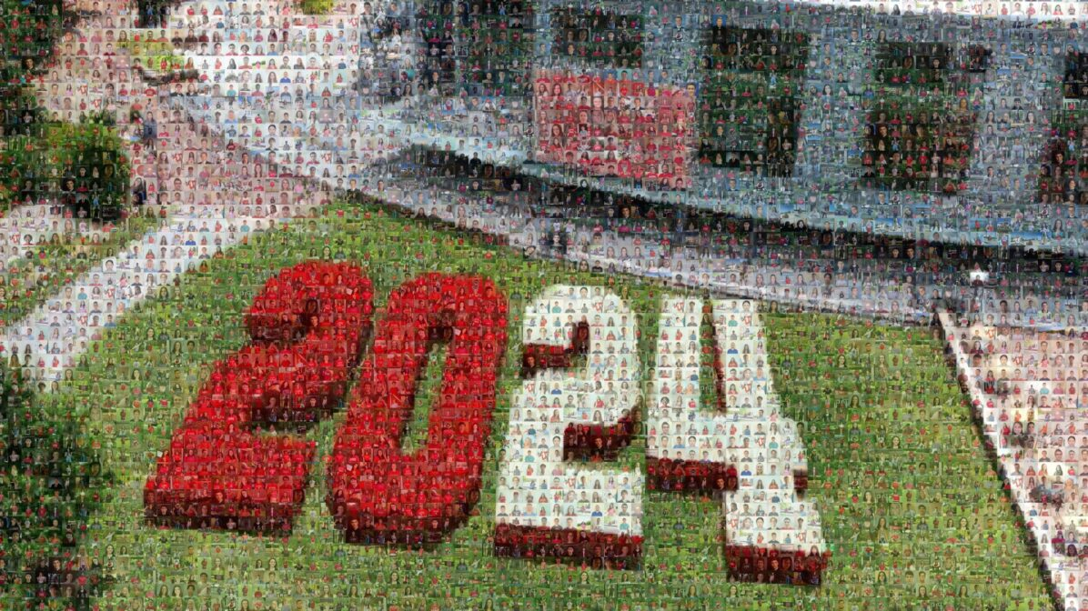 A mosaic of photos forms the class of 2024 class photo. 2024 is spelled out on the lawn of Talley Student Union.