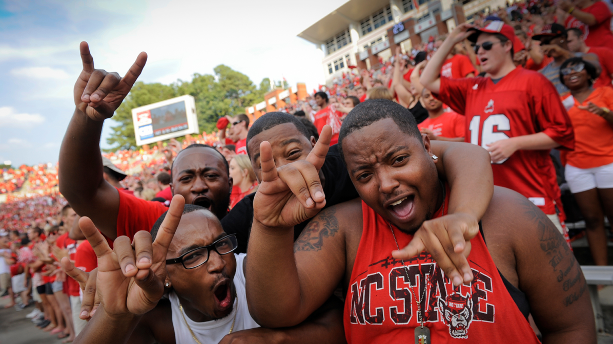 Students celebrate at Wolfpack football game