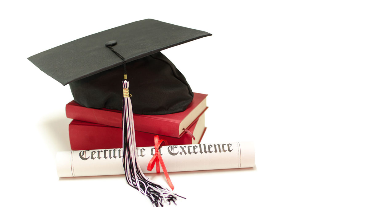 Mortarboard and certificate