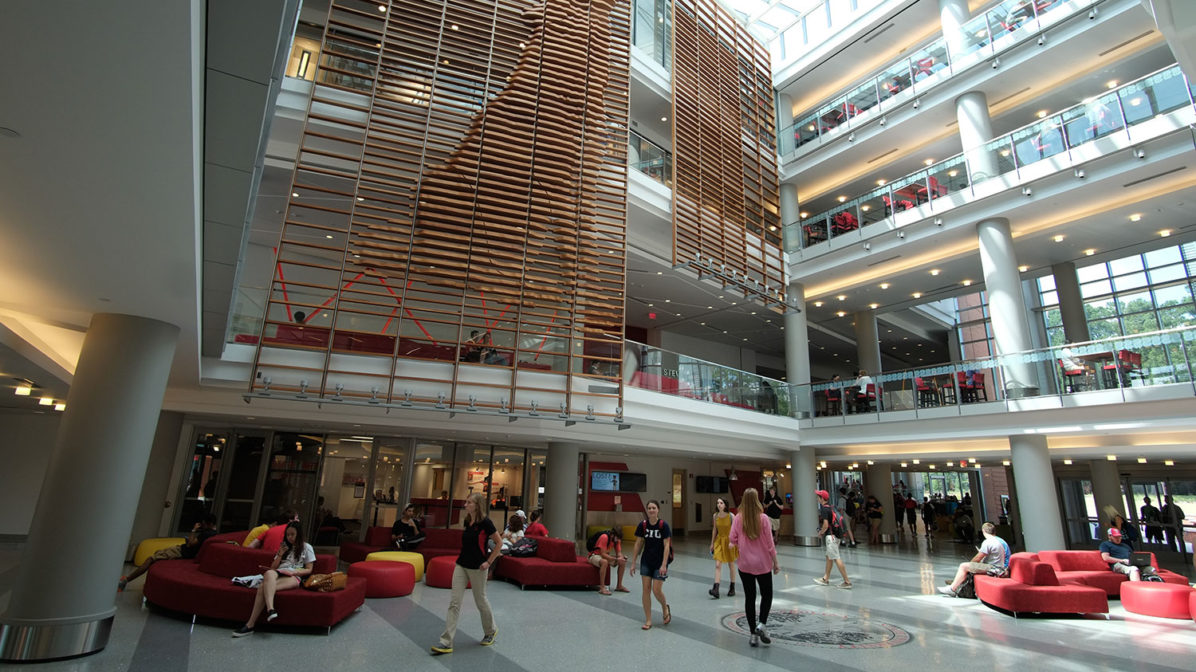 Photo of Talley Student Union lobby featuring wolf sculpture