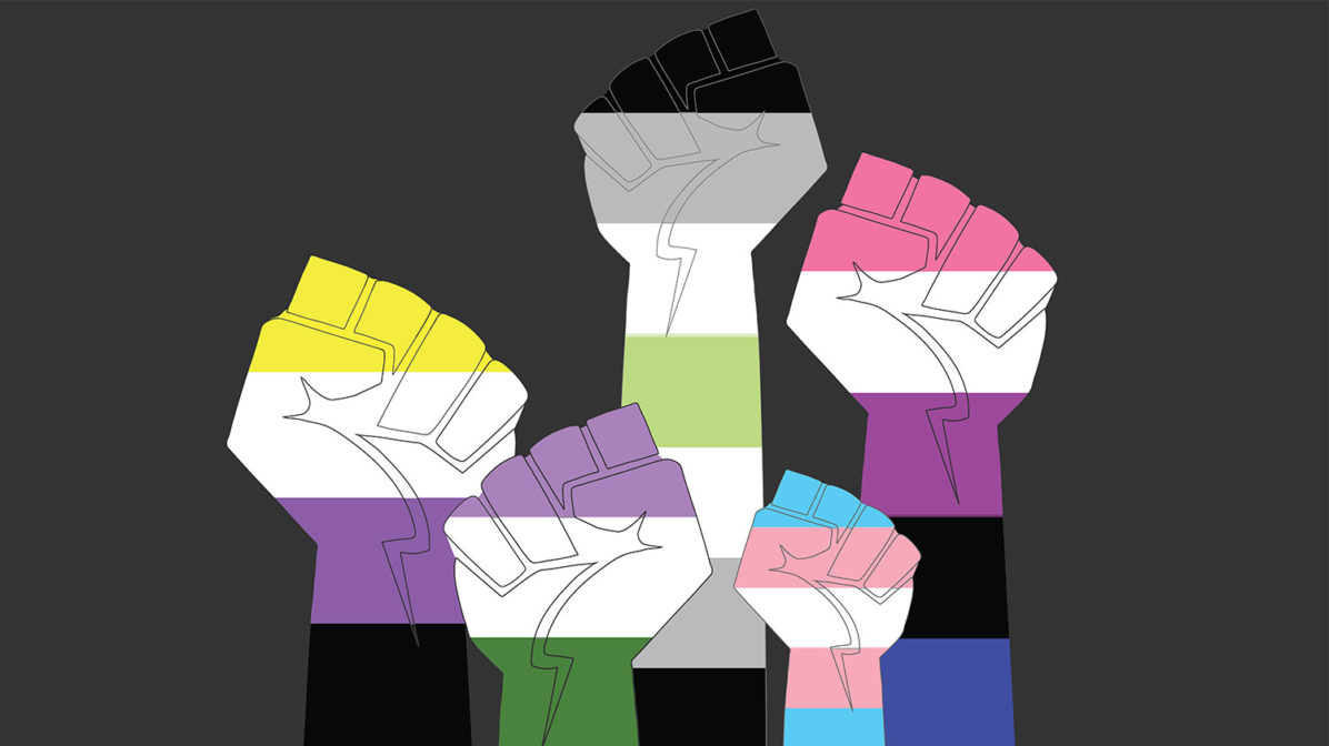 Fists drawn in colors of nonbinary gender flags for Transgender Awareness Week 2019