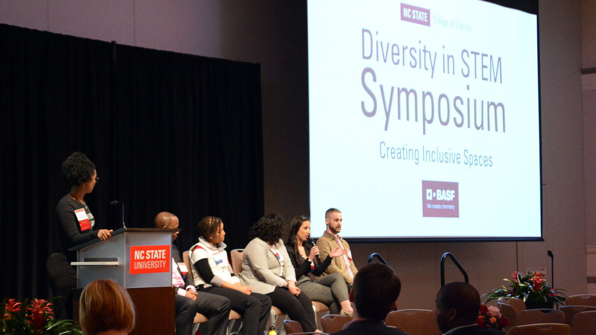 Panelists on stage at the 2nd annual Diversity in STEM Symposium