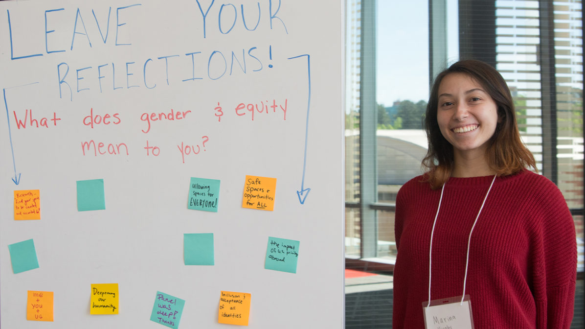 Reflection board at Gender and Equity Research Symposium