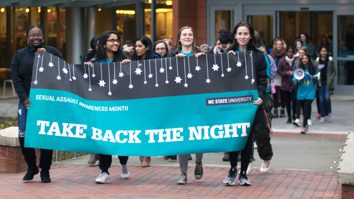 Take Back the Night March at NC State in April 2019