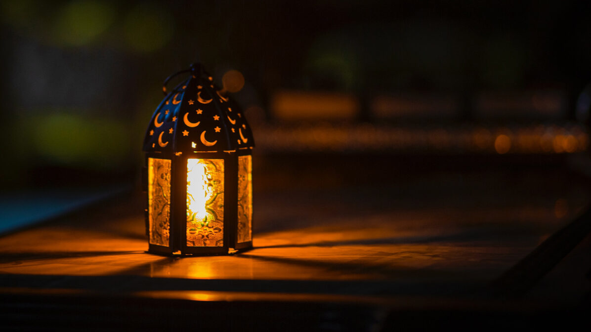 Lantern on table at night