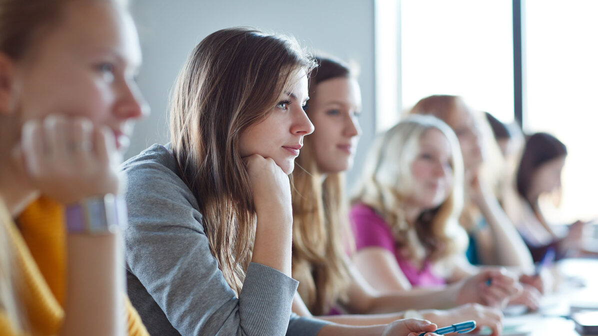 Student listening in a lecture