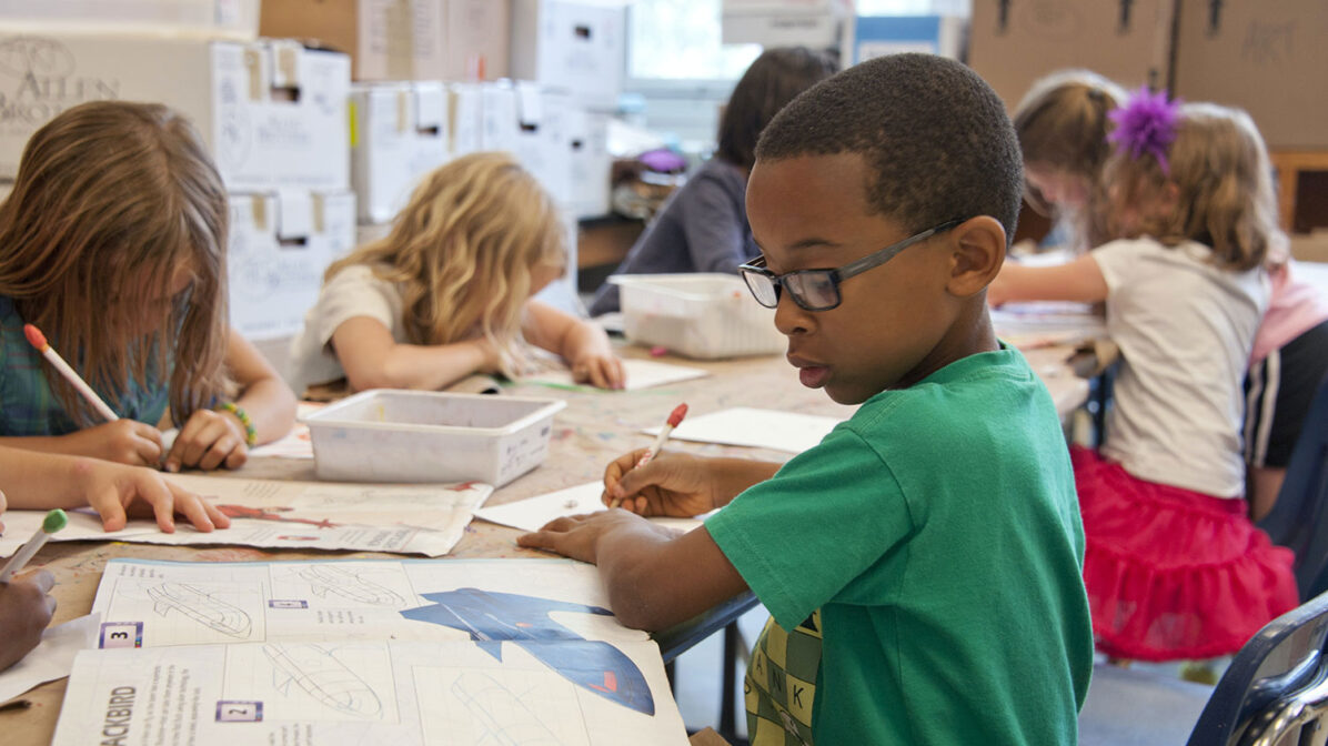 Young Black boy in a classrom