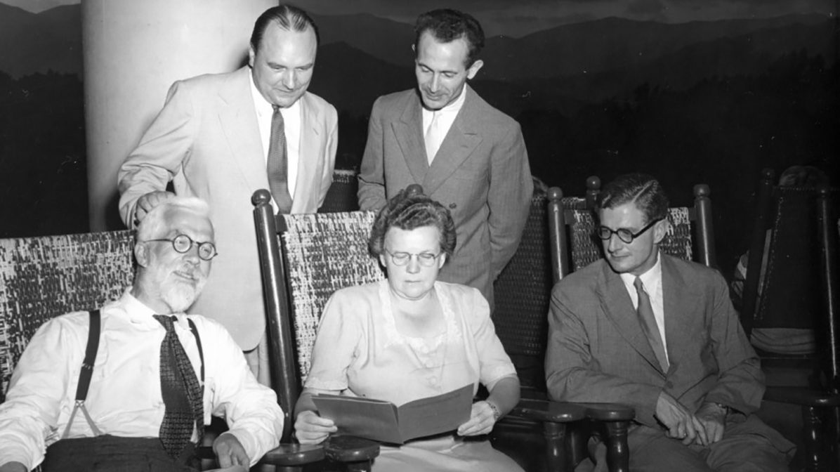 Gertrude Cox, professor of statistics and head of the Department of Experimental Statistics, seated with four others, circa 1950. Photo source: NC State Libraries Special Collections Research Center