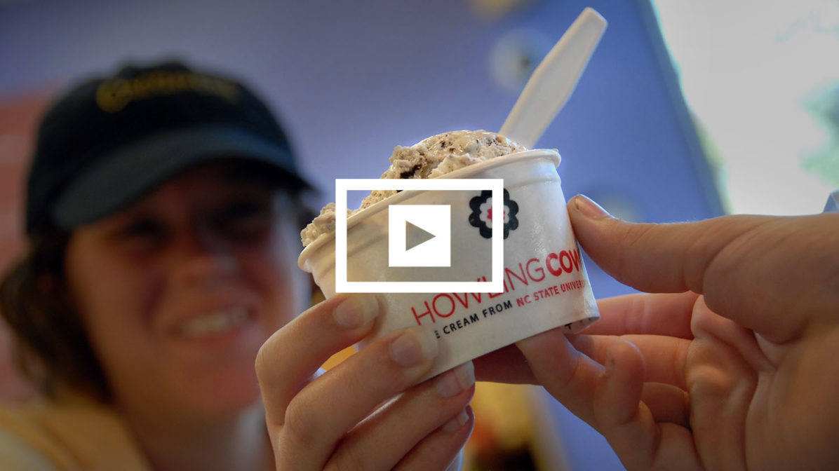 Howling Cow ice cream being served up at The Creamery in DH Hill Library.
