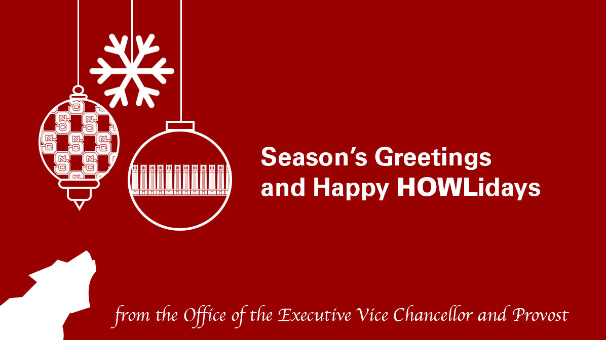 Image of ornaments and wolf with Season's Greeting and Happy HOWLidays from the Office of the Executive Vice Chancellor and Provost